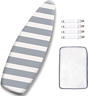 SheeChung 18 x 54 Inch Ironing Board Cover and Pad,Extra Thick,Scorch Resistant,Heat Reflective,with Elastic Clips and Protective Scorch Mesh Cloth