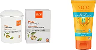 VLCC Skin Defense Pista Massage Cream 50 gm and VLCC-DeTan-SPF50-SunscreenGel 100gm, combo, pack of 2