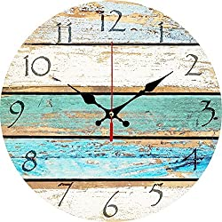 Elikeable Decorative Wall Clock,12 Vintage Wooden Decorative Round Beach Silent Wall Clock Non Ticking for Home Decor (Sky)