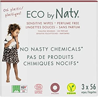 Eco by Naty Thick Baby Wipes for Sensitive Skin, Unscented, Compostable, 2 Packs of 56 (112 Wipes)