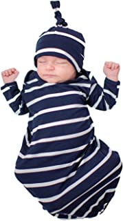 Baby Be Mine Newborn Gown and Hat Set Layette Romper Coming Home Outfit (Newborn, Blue Stripe)
