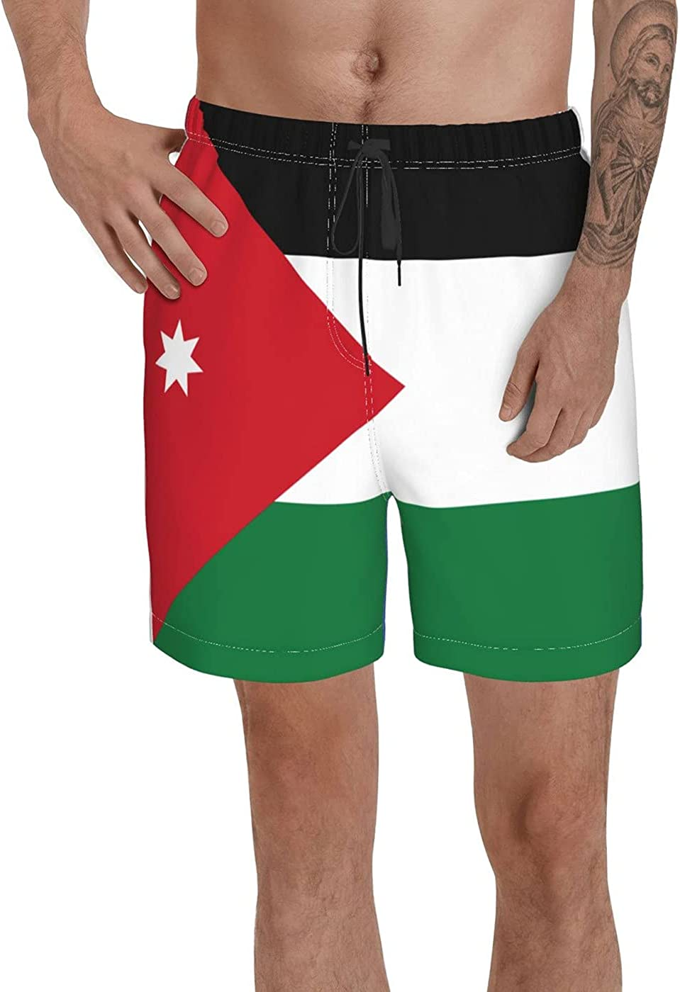 Jordan Flag Men's 3D Printed Funny Summer Quick Dry Swim Short Board Shorts with
