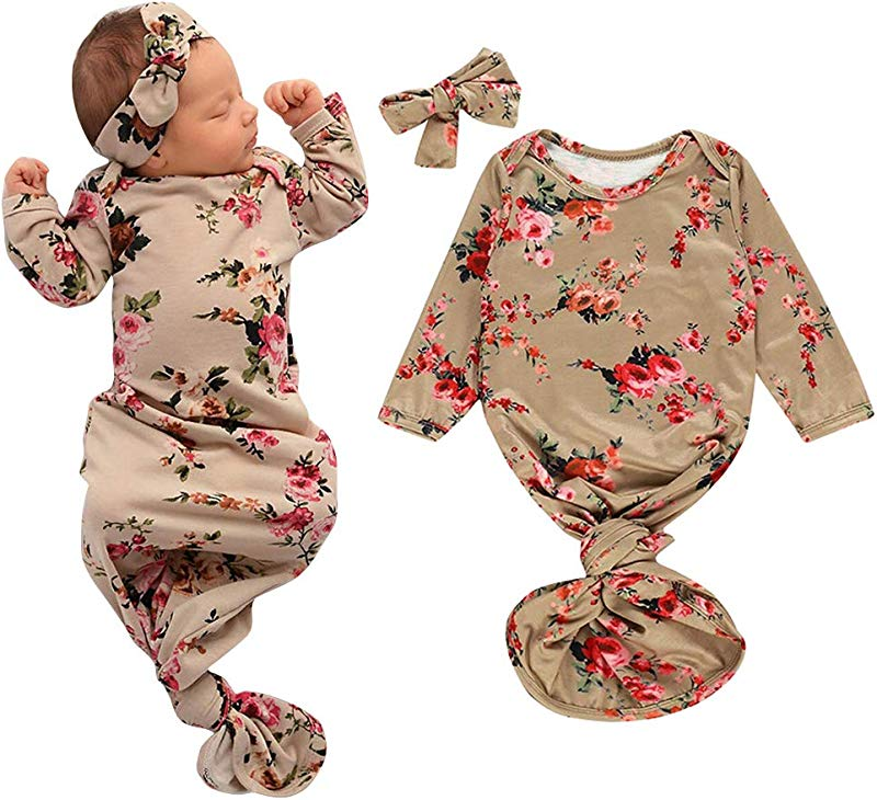COLOOM Baby Sleeper Gown Infant Floral Swaddle Wrap Knotted Sleepwear Cotton Sleeping Bag Headband Clothes