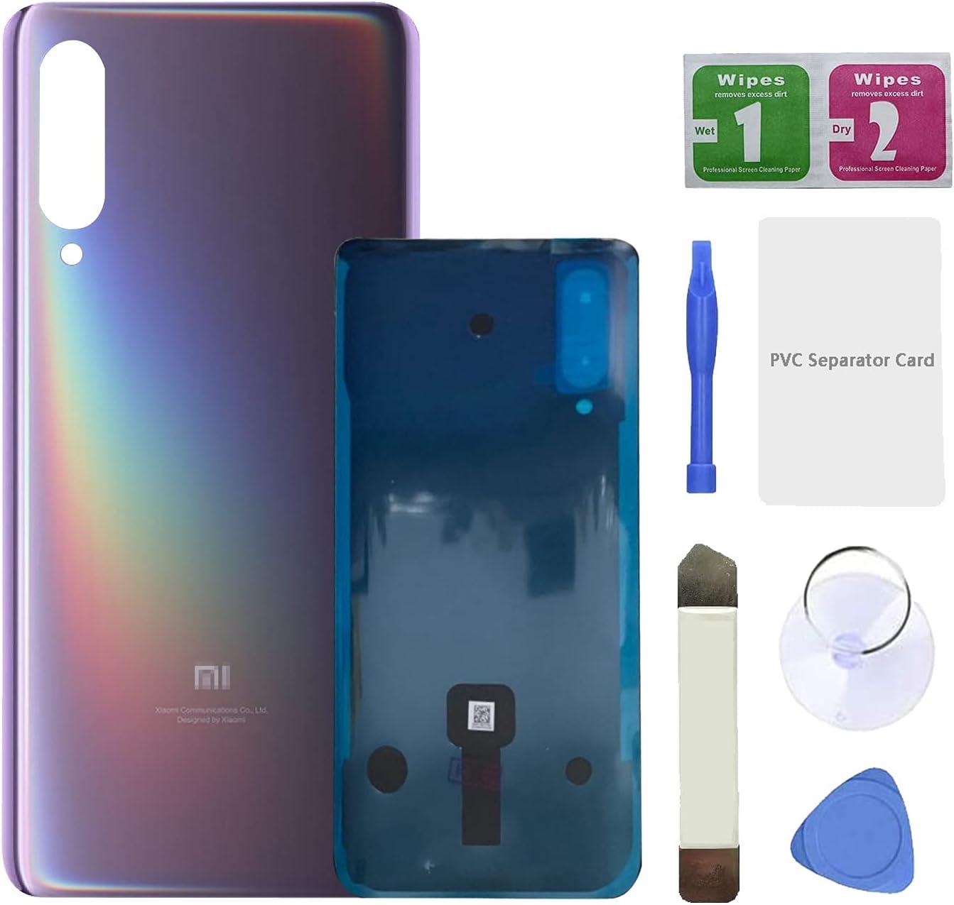 Eonpam Tapa batería Vidrio Trasera Reemplazo para (Xiaomi Mi 9) Kit reparación Original Cristal Trasero (Morado)