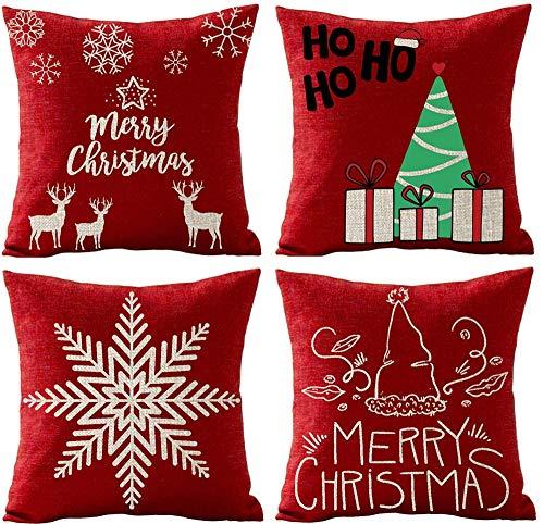 Fhdang Decor - Funda de cojín con diseño de copo de nieve rojo con texto 'Happy Merry Christmas', diseño de árbol de Navidad, para regalo de estrellas, de vacaciones, de algodón y lino, para sofá, cuadrada, decoración de boda, cumpleaños, algodón, multicolor, 22'x 22'