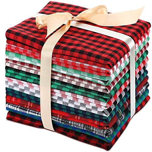 12 Telas a Cuadros de Búfalo de Navidad Tela de Navidad Tela de Algodón a Cuadros Grande de 19,5 x 15,7 Pulgadas para Costura DIY Decoraciones de Fiesta de Casa