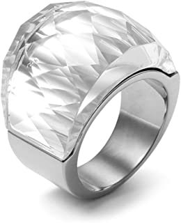 Womens Stainless Steel White Super Sized Crystal Ring Engagement Promise Wedding, Base