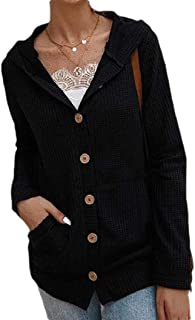 Women's Long Sleeve with Hooded Button Short Jumper Sweater Cardigan Cardigan