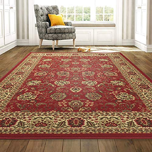 "Ottomanson Ottohome Collection Persian Style Rug Oriental Rugs, 8'2""W x 9'10""L with Non-Skid Rubber Backing, Red Area"