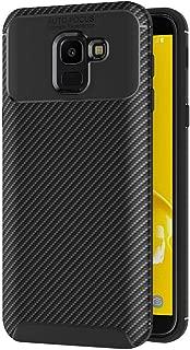 AICEK Funda Samsung Galaxy J6 2018, Negro Silicona Fundas para Samsung J6 2018 Carcasa Galaxy J6 2018 Fibra de Carbono Funda Case (5,6 Pulgadas)