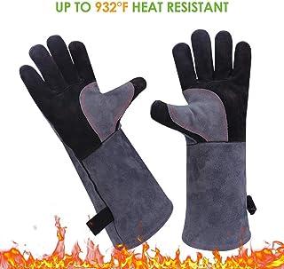 YHBH Guantes aislantes Resistentes a Altas Temperatura Guantes de protecci/ón contra Incendios ign/ífugos de Cuero Artificial Horno de microondas para Barbacoa Guantes Resistentes al Calor