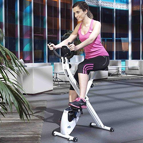 ION fitness TRON FI012 bicicleta estática plegable. sistema inercial 8 kilos. freno magnético. Monitor LCD. Ruedas de transporte. Blanca