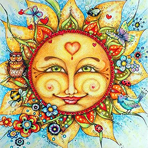 5D Diamond Painting The Sun and The Owl Full Drill by Number Kits for Adults, Sunflowers DIY Craft Paint with Diamonds Arts Kits Embroidery Cross Stitch Perfect for Bedroom Decor Craft 12x12 Inch