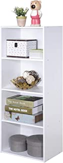 Giantex 4-Tier Bookshelf Bookcase Storage Cabinet with Open Shelves Modern Home Office Furniture for Living Room Bedroom Study Office Book Organizer Multifunctional Display Shelves (White)