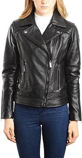 REED EST. 1950 Women's Jacket Genuine Lambskin Leather Biker Fashion Coat