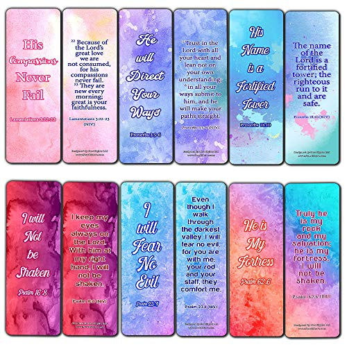 Popular Bible Verses Bookmarks Series 2 (12-Pack) - Collection of Inspirational Bible Verses - Christian Stocking Stuffers Birthday Assorted Bulk Pack - Church Memory Verse Sunday School Rewards