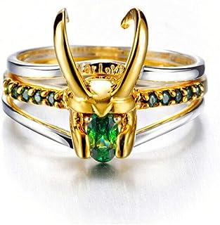 خاتم Thor Loki Helmet 925 مطلي بالذهب 3 قطع / مجموعة (المحيط 56 مم) هدايا مجوهرات للرجال للنساء