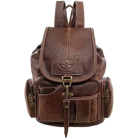 Damen Retro Rucksack Mädchen PU leder Freizeitrucksack Schulrucksäcke Vintage Daypacks Schultertaschen Für Reise Outdoor(Braun)
