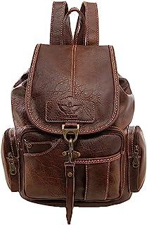 Damen Retro Rucksack Mädchen PU leder Freizeitrucksack Schulrucksäcke Vintage Daypacks Schultertaschen Für Reise OutdoorBraun