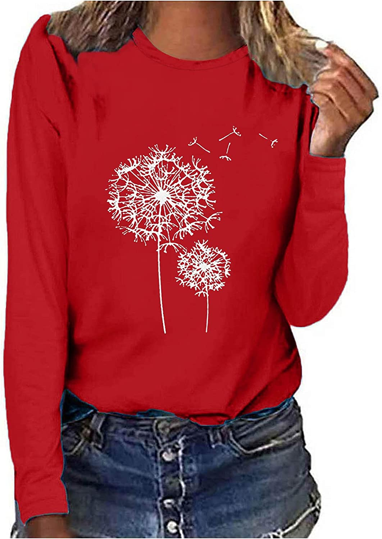 Womens Long Sleeve Tops,Womens Crewneck Trendy Sweatshirt Dandelion Loose Print Tunic Long Sleeve Sweater Pullover Top