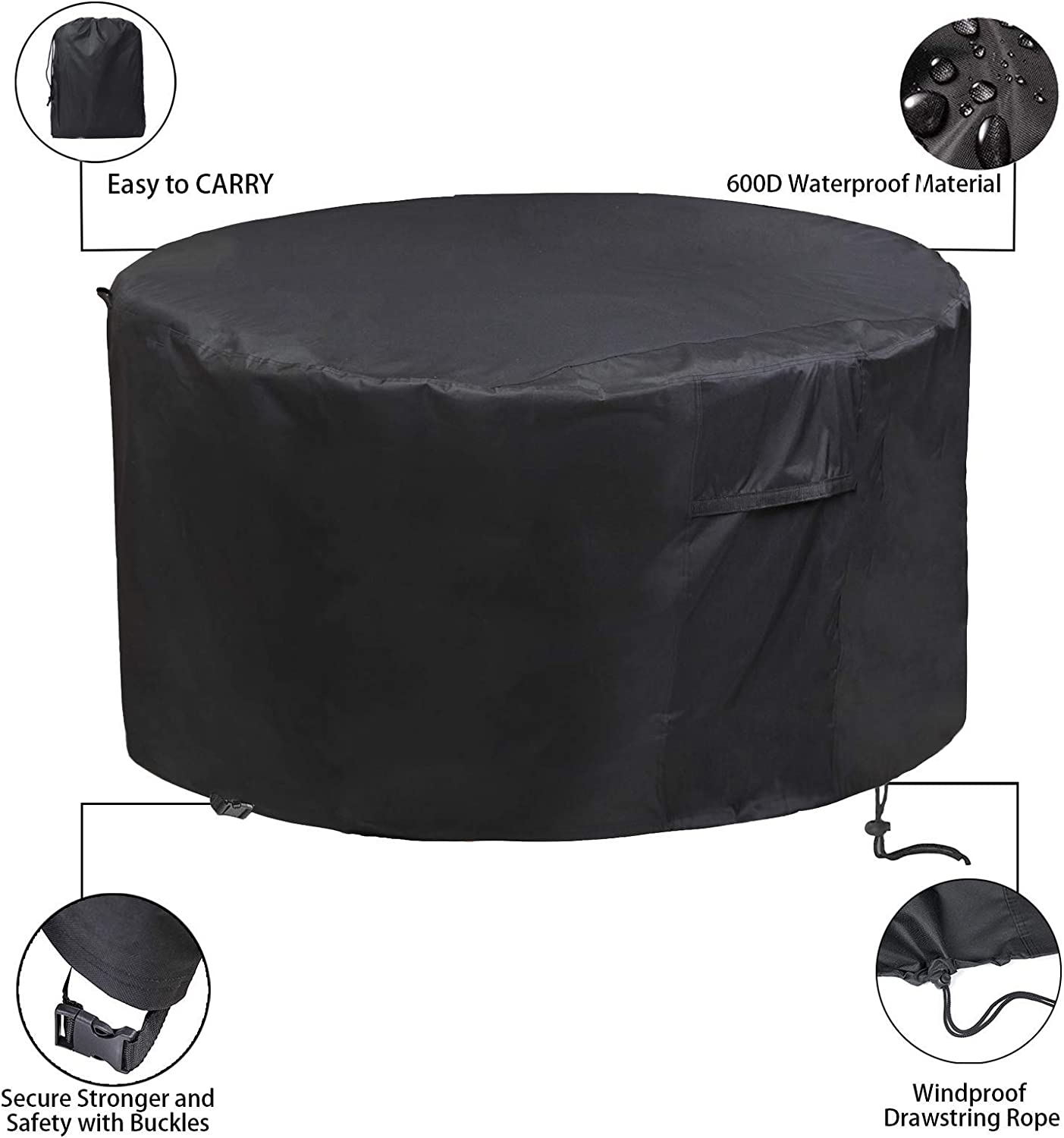 Patio Furniture Covers Waterproof Heavy Duty Oxford Protection Windproof Anti-UV Patio Set Table Covers 600D Round Outdoor Garden Table Covers CHUSSTANG Garden Furniture Covers /Ø208x91cm
