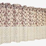 choicehot Cortinas de estilo rústico, color rojo, flores, románticas, de encaje, color beige, de algodón, semi cortinas opacas, retro, elegante, cortas, 1 unidad, alto x ancho: 100 x 140 cm