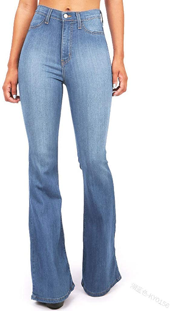 HCNTES Jeans for Women Bootcut, Women's Summer Casual Washed Frayed Ripped Hole Denim Pant High Waist Jean with Pockets