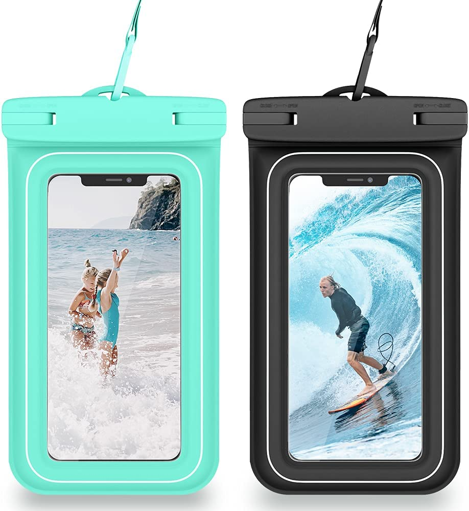 VEGO Universal Waterproof Phone Case, [2 Pack] Upgraded IPX8 Cellphone Dry Bag with Lanyard for iPhone 12 Pro 11 Xs XR 8 7 Galaxy S21 S20 S10 up to 7