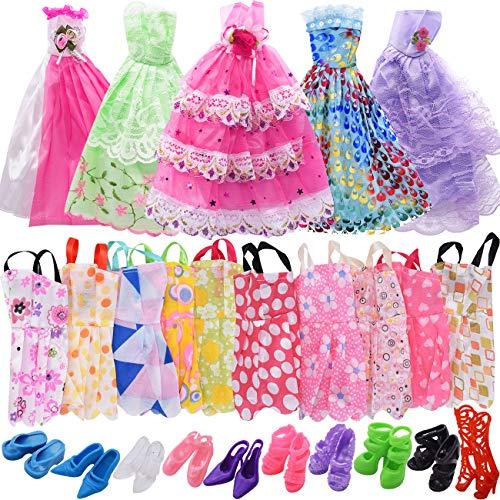 ZSWQ 25 Stück Puppenkleidung für Barbie Puppen Doll, 5 Partymoden Hochzeit Prinzessin Kleider + 10 Set Kleid Dress + 10 Paar Schuhe für Weihnachten und Geburtstag Geschenk