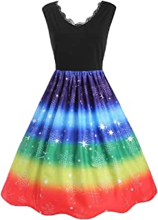 Lmtime Women Dress Vintage Xmas Ball Gown Rainbow Print Christmas V-Neck Lace Party Dress Plus Size