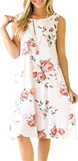 8afd511ee342 ETCYY Women's Summer Casual Sleeveless Floral Printed Swing Dress Sundress  with Pockets
