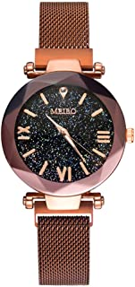 Reloj Javpoo de Acero Inoxidable - MEIBO Cuarzo Acero Inoxidable Imán Hebilla Starry Sky Reloj de Pulsera analógico Día de San Valentín Regalo de cumpleaños.