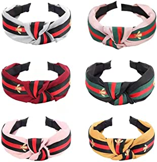 Knot Headbands for Women - 6 Pack Hair Hoops Wide Stripe Headband with Bee Animal, Cross Knot Hair Band with Cloth Wrapped