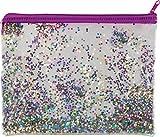 JMS - Estuche para lápices de tamaño A5 con purpurina holográfica, estuche para cosméticos, bolsa de almacenamiento para brochas de maquillaje, estuche portátil transparente, color A5 Plus Size Purple Stars Pouch