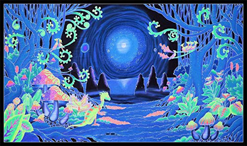space jungle black light tapestry