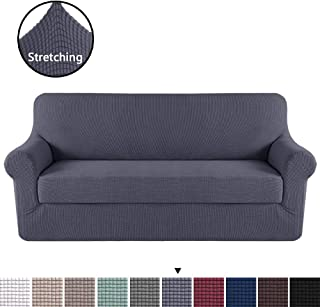 H.VERSAILTEX High Stretch 2 Pieces Jacquard Lycra Sofa Cover/Slipcover Form Fit Slip Resistant Stylish Furniture Protector Machine Washable, Sofa 3 Seater, Gray