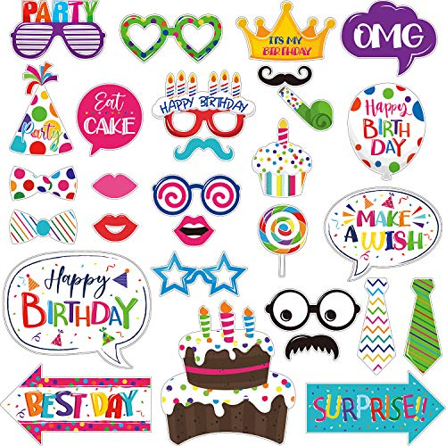 29 Pieces Birthday Photo Booth Props Kit Colorful Funny Birthday Theme Props Table Centerpiece Craft Cut Outs with Glue…