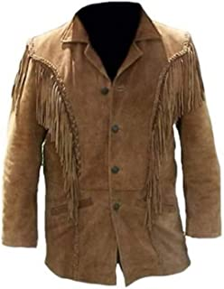 IMOHyperMarket Mens Western Jackets Handmade Native American Fashion Traditional Brown Suede Leather Jacket Fringes Style 1980's Casual Coat