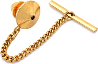 Generic Gold Plated Pin Back With Tie Tack Clutch Chain New
