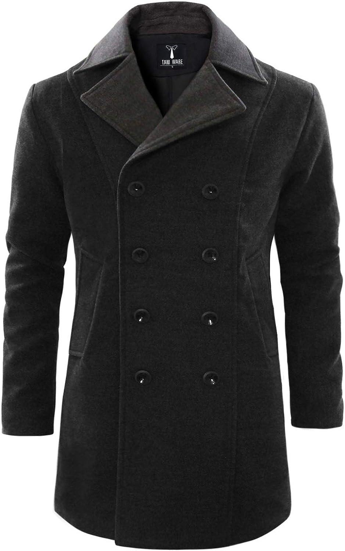 TAM WARE Men's Stylish Wool Blend Pea Coat
