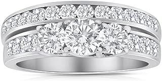 1.50ctw Diamond Three Stone Bridal Set in 10k White Gold