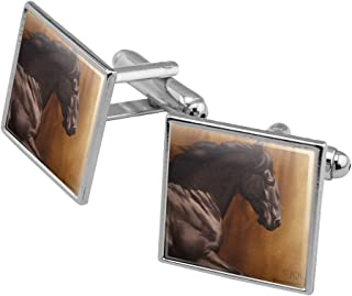 Black Horse Racing Square Cufflink Set - Silver or Gold