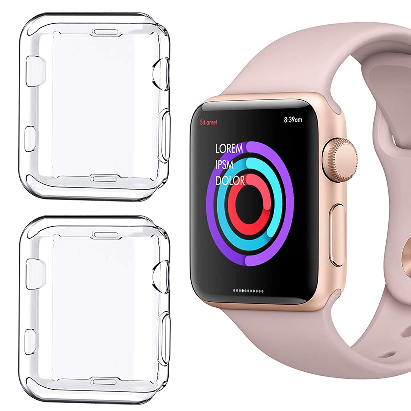 [2 Pack] Compatible for Apple Watch Series 1 42mm Case, iMieet Soft TPU Screen Protector All-Around Protective 0.3mm HD Clear Ultra-Thin Cover Case for Apple Watch 42mm Series1
