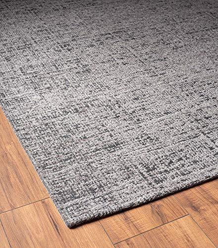Bari Moderner Vintage Teppich mit klassischen Elementen, Designer Teppich, Super Flach, Used Look,Kräftige Farben, Grau 120x170 cm