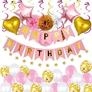 Ouflow 50pcs Happy Birthday Decorations Girls Women Kids Pink Birthday Party Supplies include Happy Birthday Banners-Star String-12pcs Swirl-28pcs Balloons-6pcs Honeycomb Ball for Party Backdrop