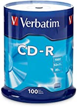 Verbatim CD-R Blank Disc 700MB 80 Minute 52x for Data and Music – 100 PK Spindle FFP