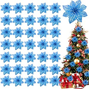 TURNMEON 36 Pack Christmas Flowers Decorations, Glitter Poinsettia Christmas Tree Ornaments, 4″ Artificial Silk Flowers Picks for Christmas Wreaths Garland Holiday Decoration (Navy)