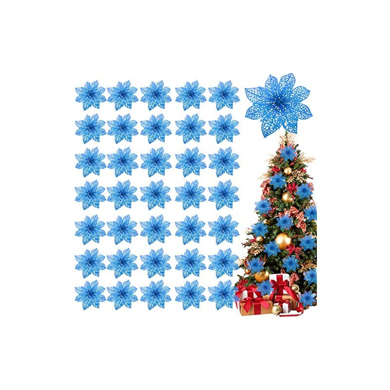 """silk flower arrangements turnmeon 36 pack christmas flowers decorations, glitter poinsettia christmas tree ornaments, 4"""" artificial silk flowers picks for christmas wreaths garland holiday decoration (navy)"""