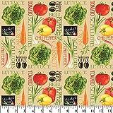 Market Fresh Vegetables Cotton Fabric by The Yard, Precut 1 Yard Pieces