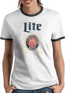 Lovevol Miller Lite Logo Women's Ringer T-Shirt Black
